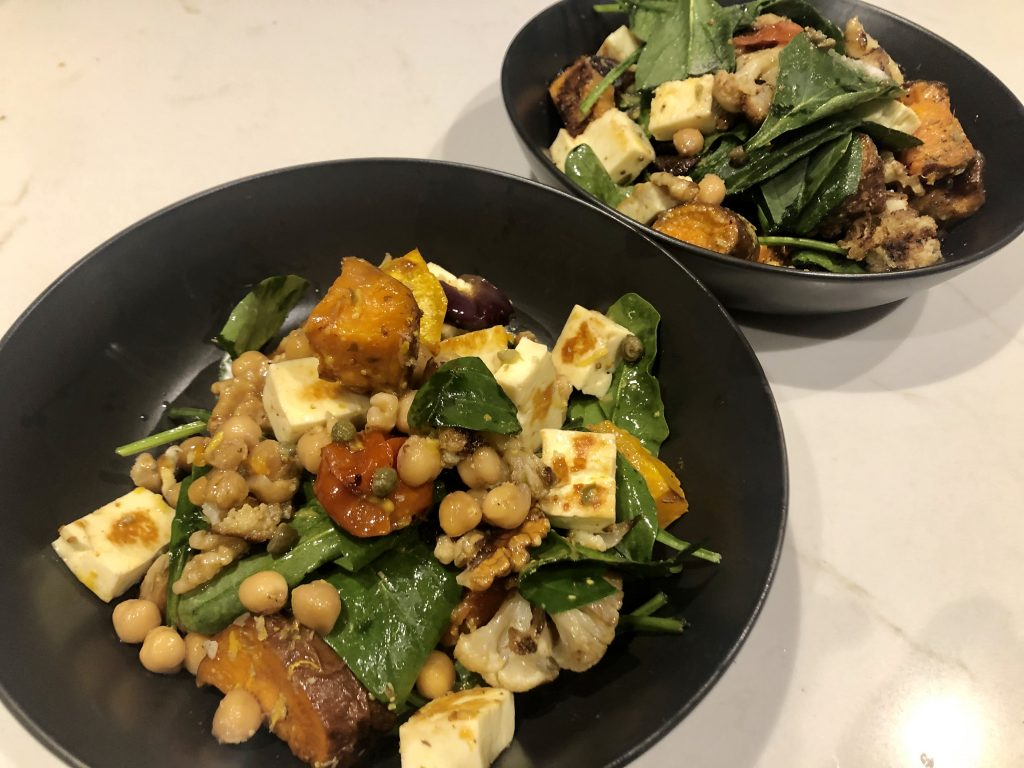 Roasted Vegetable, Chickpea and Haloumi Salad